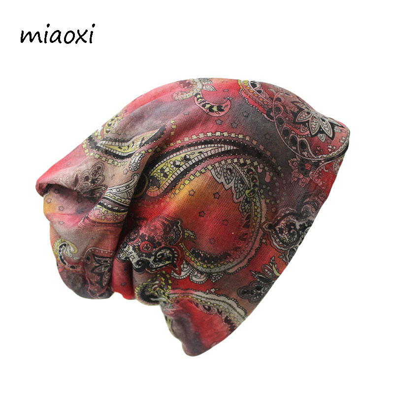 Miaoxi New Style Fashion Women Hat Floral Polyester Women's Autumn Cap Female Beanie Skullies 2 Colors Vintage Girl's Bonnet