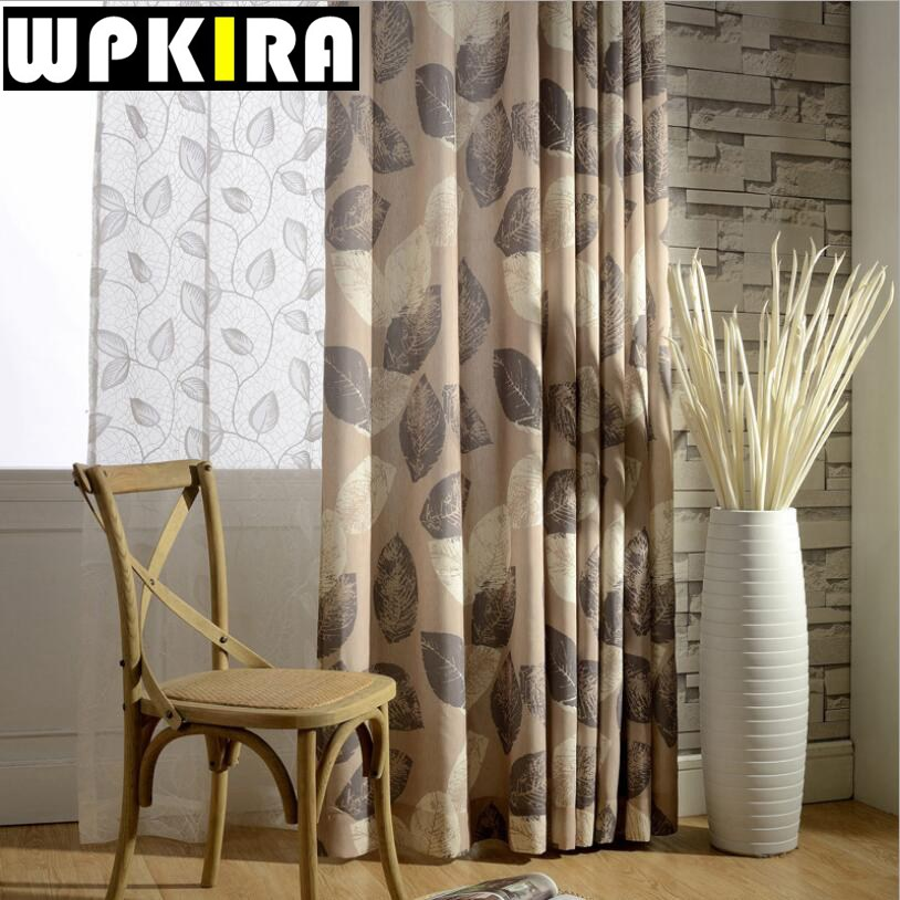 Great Brown Curtains For Windows White Sheer Curtains Leaves Pattern Cortina Para  Lasa Blue Bedroom Window Curtain