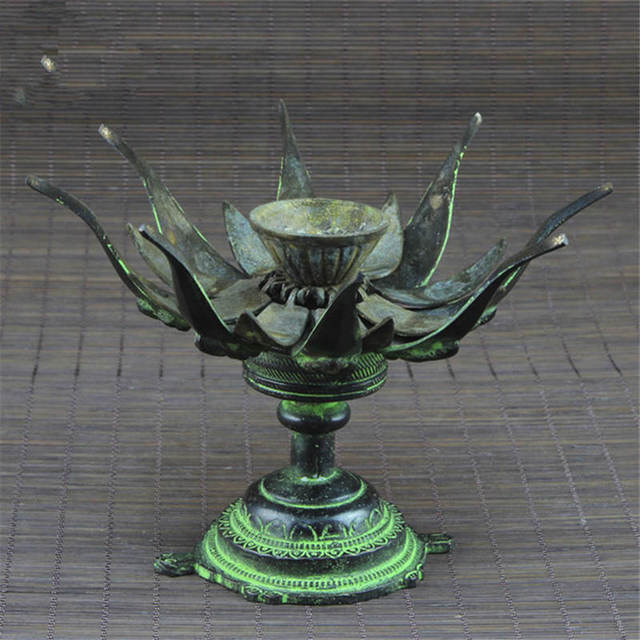 HDC0678 Indian Bronze Lotus Tortoise Lamp Antiqued Vintage Candles Holder 4'' Family Decor Arts