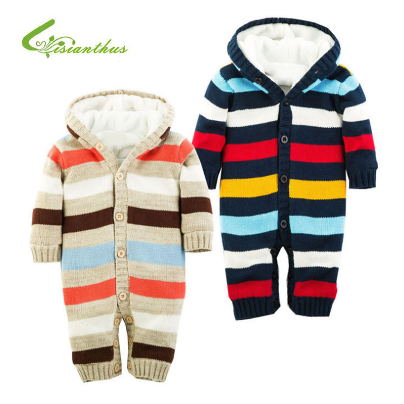 Newborn Winter Warm Thick Baby Boys Girls Jumpsuit Infant Rainbow Color Knitted Sweater Rompers Hooded Outwear Climbing Clothes 2017 lovely newborn baby rompers infant bebes boys girls short sleeve printed baby clothes hooded jumpsuit costume outfit 0 18m