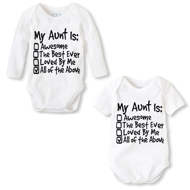 Fashion Newborn Baby Clothes Baby Romper pajama Long Sleeve Print My Aunt Baby Girl boy Clothes Roupas de bebe Infant jumpsuit