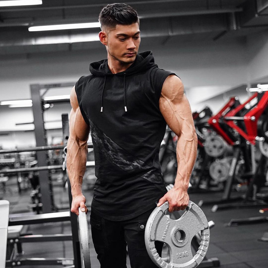 2019 New Brand Stretchy Sleeveless Shirt Casual Fashion Hooded Gyms Tank Top Men bodybuilding Fitness Clothing-in Tank Tops from Men's Clothing