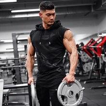 2019 nueva marca Stretchy camisa informal sin mangas moda con capucha gimnasios camiseta sin mangas hombres culturismo ropa de Fitness