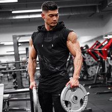2019 جديد ماركة بسط قميص بدون أكمام موضة عادية مقنع صالات رياضية تانك توب الرجال كمال الاجسام اللياقة البدنية الملابس