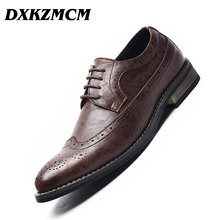 DXKZMCM 2019 Men Leather Shoes Handmade Men's Dress Brogue Shoe Classic Loafers Footwear Business Party Office Wedding