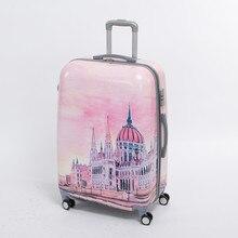 Female 20 inch pink pc hardside trolly luggage bag on universal wheels,8 wheels palace travel case,fairy tale Palace duffle bag
