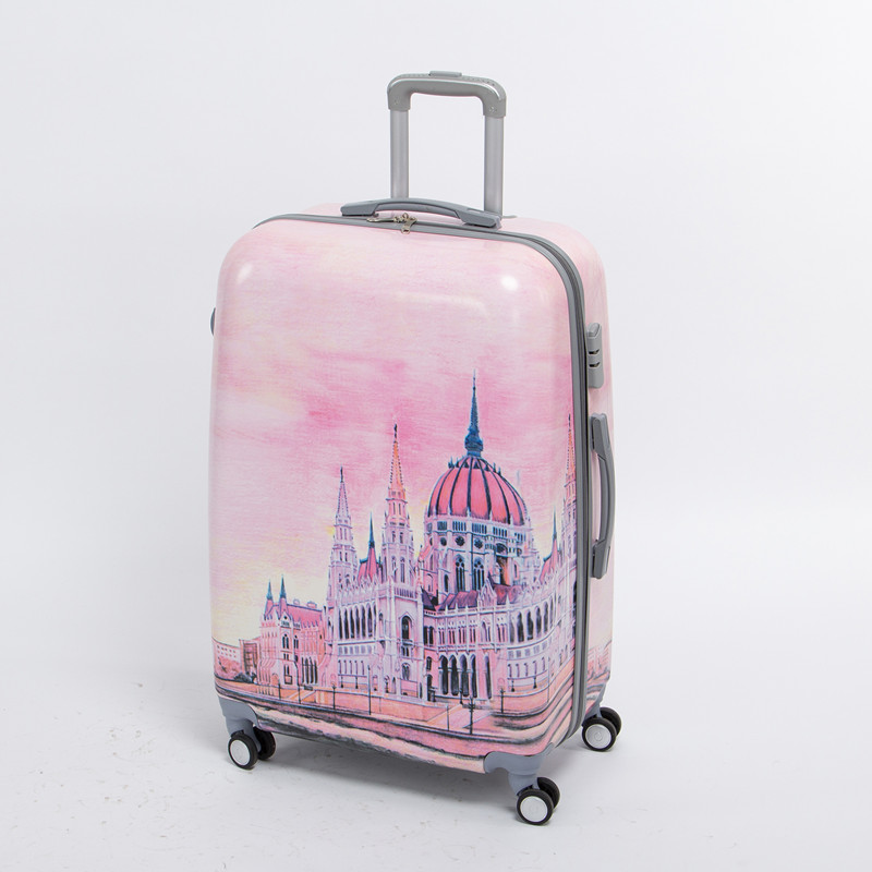 Female 20 inch pink pc hardside trolly luggage bag on universal wheels,8 wheels palace travel case,fairy tale Palace duffle bag