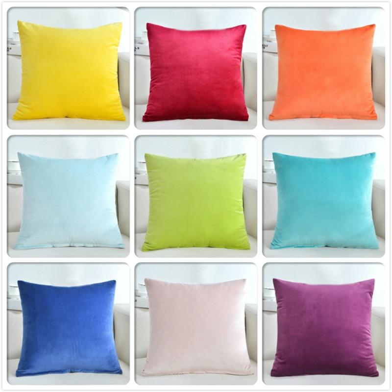Pleuche Fabric Soft Throw Pillow Case 18x18 inch 45*45cm Sofa Chair Beds Back Lumbar Cushion Cover Plain Colour Solid Pillowcase