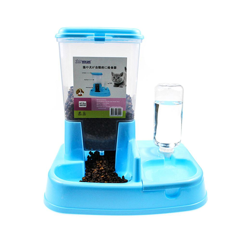 MeterMall 2019 High quality 1.5 L Automatic Pet Food Dispenser Pet Products Dog and Cat Food Water Feeder Bowl image
