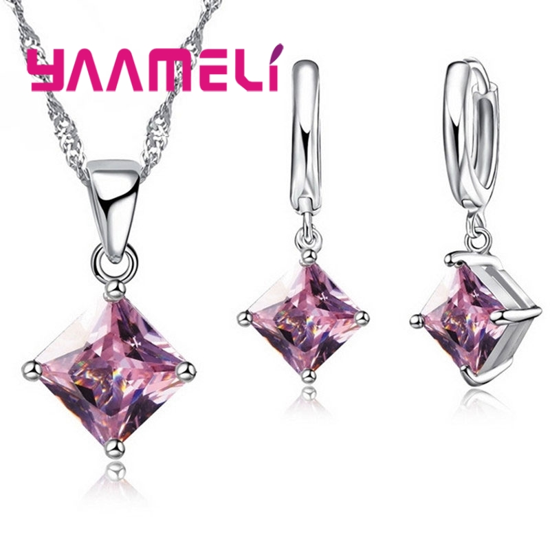YAAMELI High Quality Zircon Geometric 3D Square Statement Necklace 925 Sterling Silver Drop Earrings Set For Lady Best Gift
