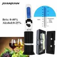 Opakowanie detaliczne ciężar właściwy 0-40% Brix refraktometr alkoholowy Tester do brzeczki piwo wino winogronowy cukier ATC zestaw Sacc 47% taniej