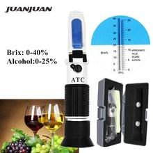 Scatola al minuto Peso Specifico 0 40% Brix Rifrattometro Alcol Tester per Mosto di Birra Vino Uva Zucchero ATC Set Sacc 47% di sconto