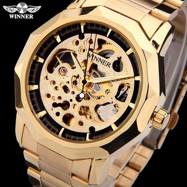 Relojes de pulsera marca WINNER para hombre, de esqueleto mecánico, automático, informal, de acero dorado, masculino