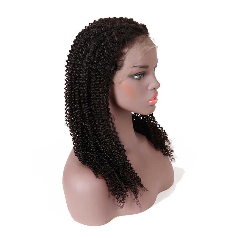 "Mongol Afro rizado 13x6 peluca frontal de encaje negro Natural 8 ""a 26"" 130%/150% /Peluca de cabello humano Remy Pre desplumado de densidad 180%"