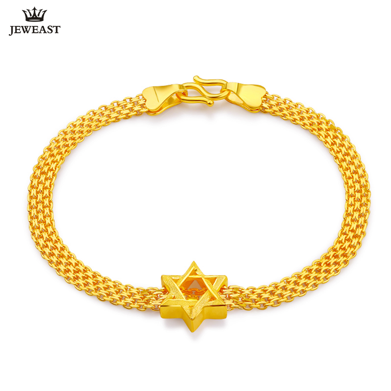 24K Pure Gold Bracelet Real 999 Solid Gold Bangle Simple Fashion Smart Star Trendy Classic Party Fine Jewelry Hot Sell New 2018 24k gold ring pure real pattern exquisite fine jewelry mini resizable design fashion female new hot sale 999 trendy party women