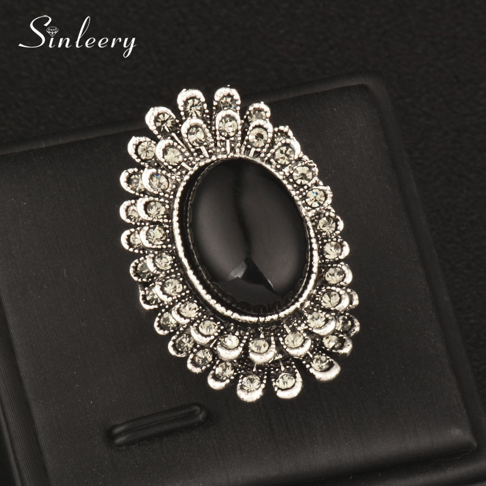 SINLEERY Vintage Female Sun Flower Black Opal Oval Big Rings With Cubic Zirconia Antique Silver Color Cocktail Jewelry Jz176 SSH