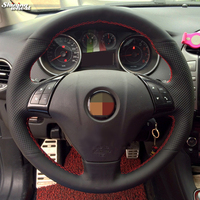 Shining Wheat Black Genuine Leather Car Steering Wheel Cover For Fiat Bravo 2007 2011