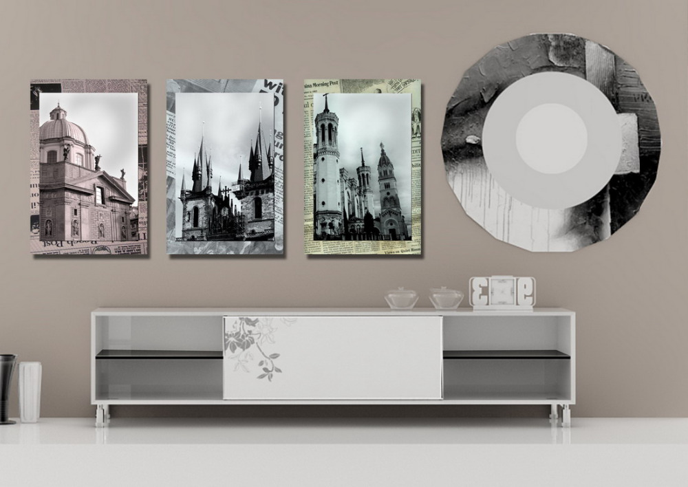 3 panels canvas print church framed with old newspaper for Newspaper canvas art