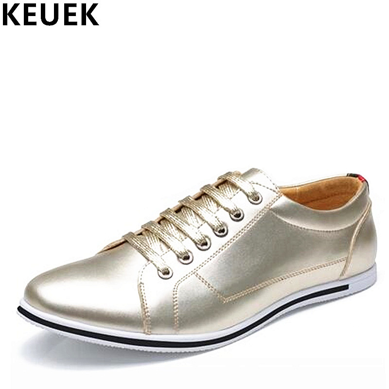 Large size Men Casual shoes Breathable Lace-Up Loafers Fashion Male Flats Soft Leather Comfortable Sneakers Gold silver 01B girls fashion punk shoes woman spring flats footwear lace up oxford women gold silver loafers boat shoes big size 35 43 s 18