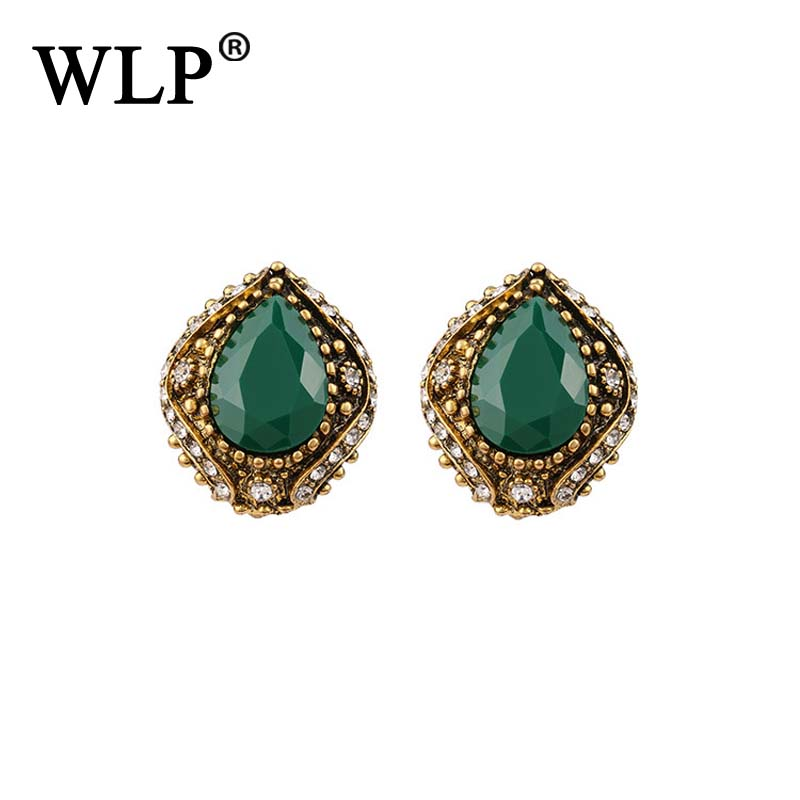 WLP 2018 New Arrival Vintage Red&Green Resin Earrings With Crystal High Quality Beautiful Design For Girls Best Gift E0120