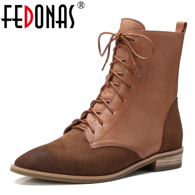 FEDONAS Retro Women Cow Suede Ankle Boots Pointed Toe Autumn Winter Short Martin Shoes Woman Quality Lace Up Motorcycle Boots цены