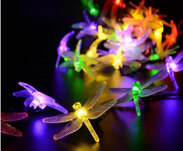 Solar christmas lights led solar dragonfly fairy string lights