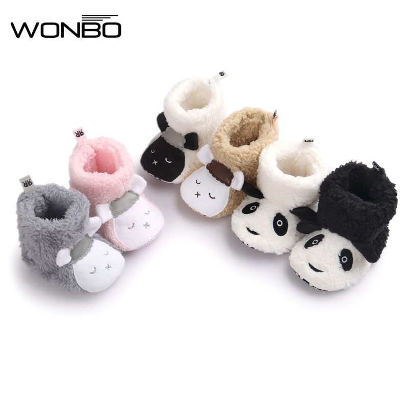 Wonbo Winter Cute Panda Animal Style Baby Boots Fleece Worm Cotton-padded Shoes Baby Booties Wholesale 0-1 Infant Toddler Shoes