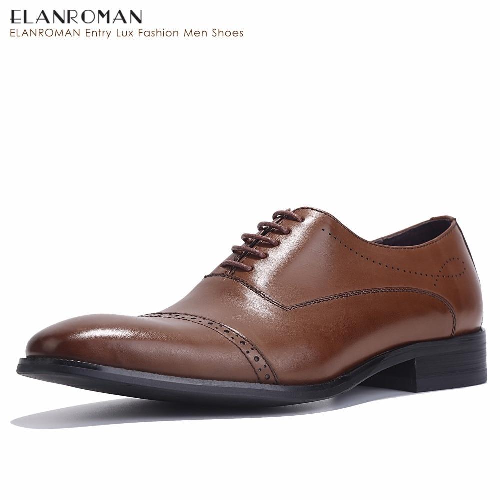 ELANROMAN Fashion Calfskin Oxford Shoes Business Suit Shoes Brown Italian Handmade Dress Shoes 40-46