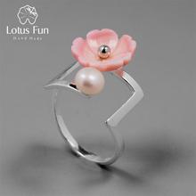 Lotus Fun Real 925 Sterling Silver Natural Pearl Creative Fine Jewelry Flower Ring Minimalism Irregular Rings for Women Bijoux