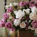 Head Rose Simulation Flower Silk Flowers Artificial Flowers European-Style Decorative Artical Rural Style