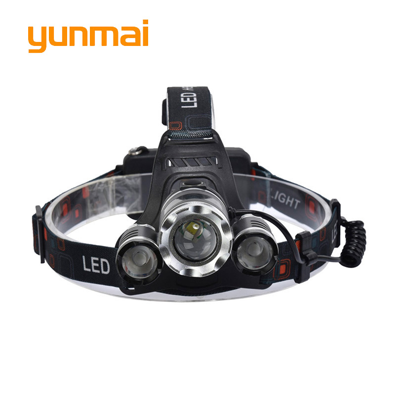 Led Headlight Zoom 8000Lm Rechargeable Headlamp Flashlight Head Torch Xml T6+2Q5 Use 18650 Battery Car Charger Fishing Light