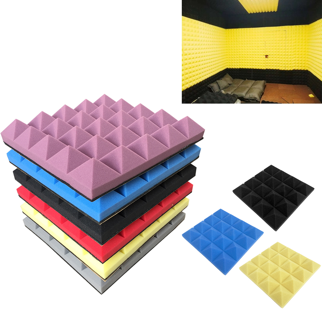Acoustic Foam Board Soundproof Sound-absorbing Cotton Drum Room Recording Studio Piano Wall Sound Insulation Sponge
