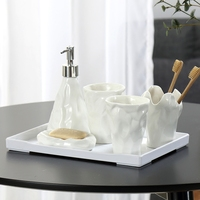 Nordic simple ceramic bathroom set five piece suit mouth cup bathroom supplies couple creative toothbrush cup