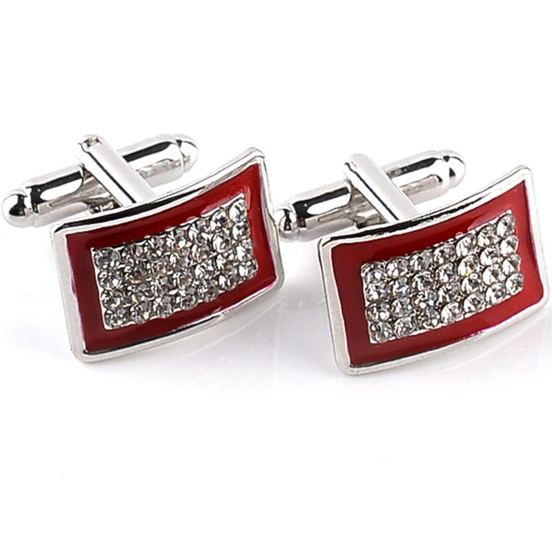 2016 New Simple Style Crystal Rectangle Cufflinks Mens Shirt Cuff Button Christmas Gifts for Men Laser Plating Cuff Link Gemelos