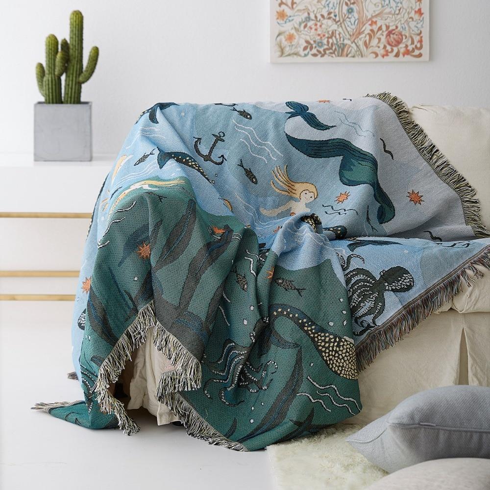 Thicking Mermaid blanket sofa Universal sofa cover decorative slipcover Throws on Sofa/Bed/Plane Travel Plaids Rectangular SF29