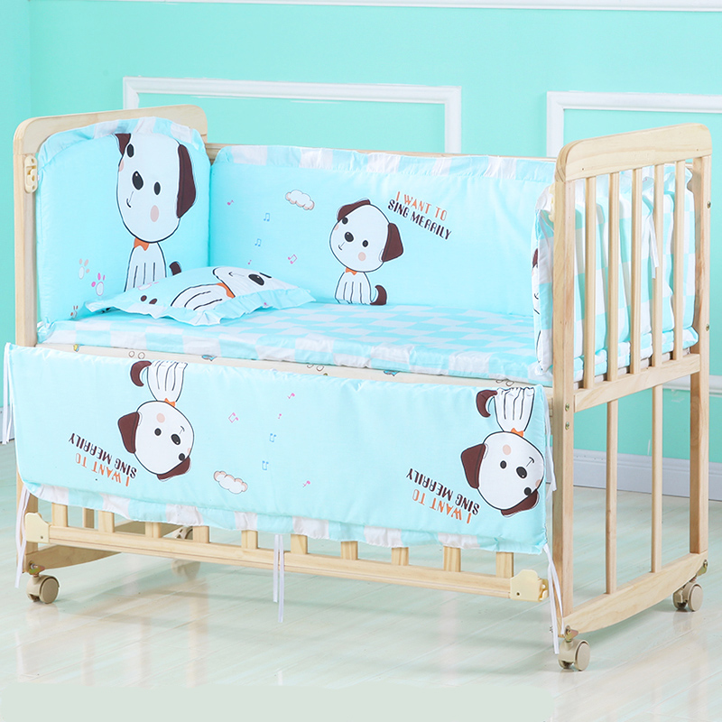 Natural Soild Wood Baby Multi-function Portable Bed Crib Breathable Baby Cradle Bed Protector For Kids Cradle