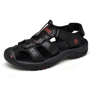 Image 4 - 2019 New Mens Sandals Summer Outdoor Non Slip Sandal Genuine Leather For Trekking Breathable Fashion Casual Shoes Size 47 48