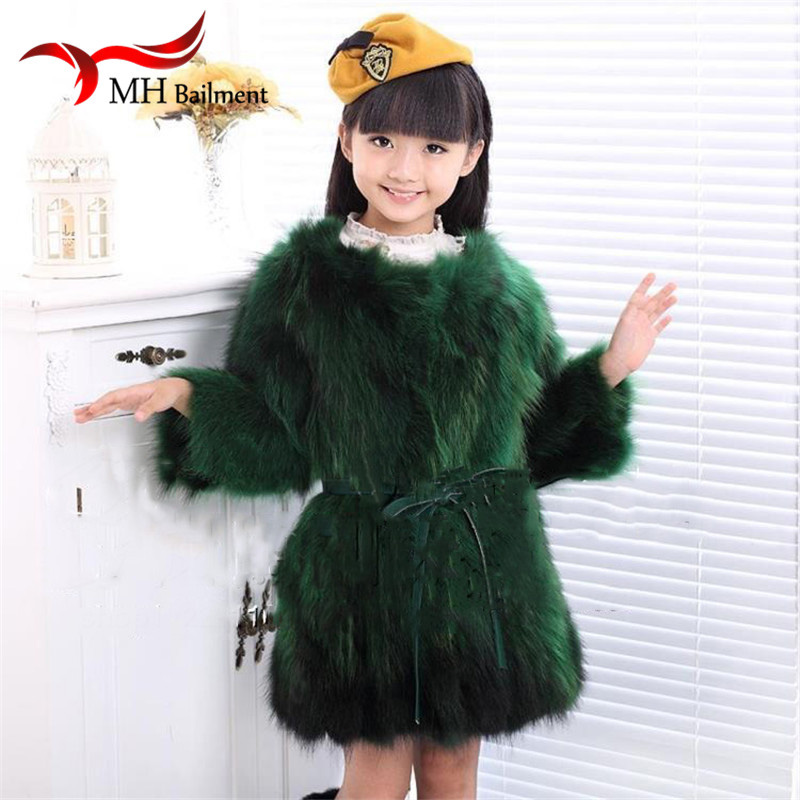 Children Raccoon Fur Coat Autumn Winter Girls Warm Long-sleeved Raccoon Fur Clothing Solid Color High Quality Coat Jackets C#46 2017 winter new clothes to overcome the coat of women in the long reed rabbit hair fur fur coat fox raccoon fur collar