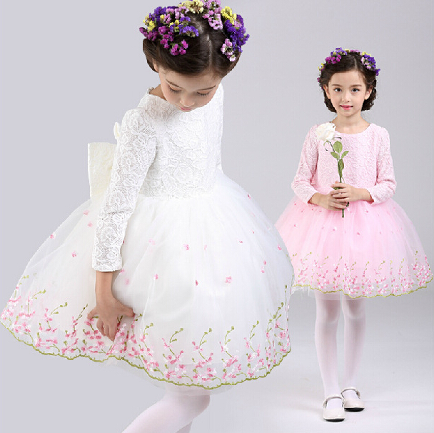 Wholesale Girls Autumn Long Sleeve Princess Dress Children Bow Lace Patchwork Birthday Party Dress Fashion Flower Baby Dress lace autumn girls dress long sleeve