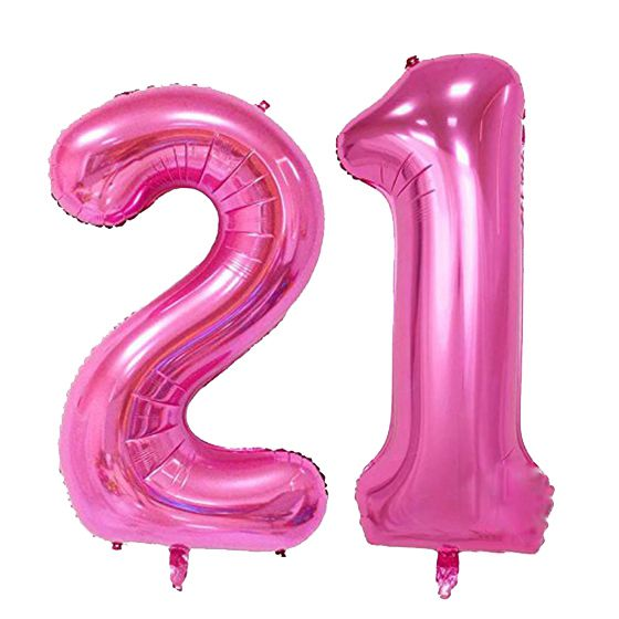2 Pcs Set 40inch Number Balloon Party Festival Decorations Jumbo Foil Helium Balloons Girl Birthday Supplies Pink 21 In Ballons Accessories From