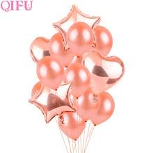 QIFU บอลลูนอากาศ Rose G Old ตกแต่งงานแต่งงานฮีเลียมบอลลูนตกแต่งงานเลี้ยงวันเกิดที่มีความสุขเด็กตกแต่งทารกฝักบัว