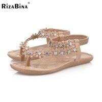 RizaBina Classic Women Summer Vacation Flats Sandals Flower Beading Flip Flops Holiday Beach Shoes Women Footwear