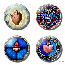 Heilig kruis hart Stained magneet Vintage Glas cabochon Retro koelkast magneten Jezus Christian stickers home decor(China)