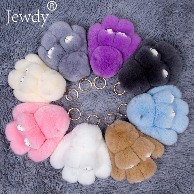 15cm Fluffy Bunny Keychains Rex Rabbit Key Chain Fur Woman