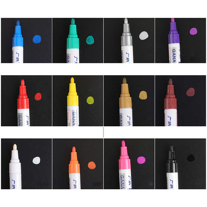 Colorful Tahan Air Pen Mobil Paint Marker Graffiti Berminyak Cat Pena Mark Pena Album Foto Diseduh Sendiri Album Foto Buku Tempel 12 Warna