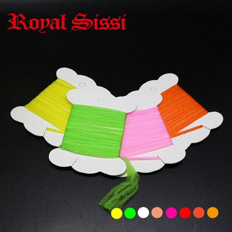 8 krāsas / komplekts Polipropilēna peldošā dzija 1yards uz kartes super smalkas sausas mušu šķiedras vērpšanas spārni mušu sasiešanas izpletņi materiāli