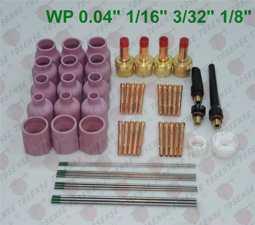 60 pcs TIG Torch Large Gas Lens WP-17/18/26 WP Tungsten 0.04 1/16 3/32 1/8 18 pk tig torch large gas lens wp 9 20 25 wp tungsten 0 04 1 16 3 32