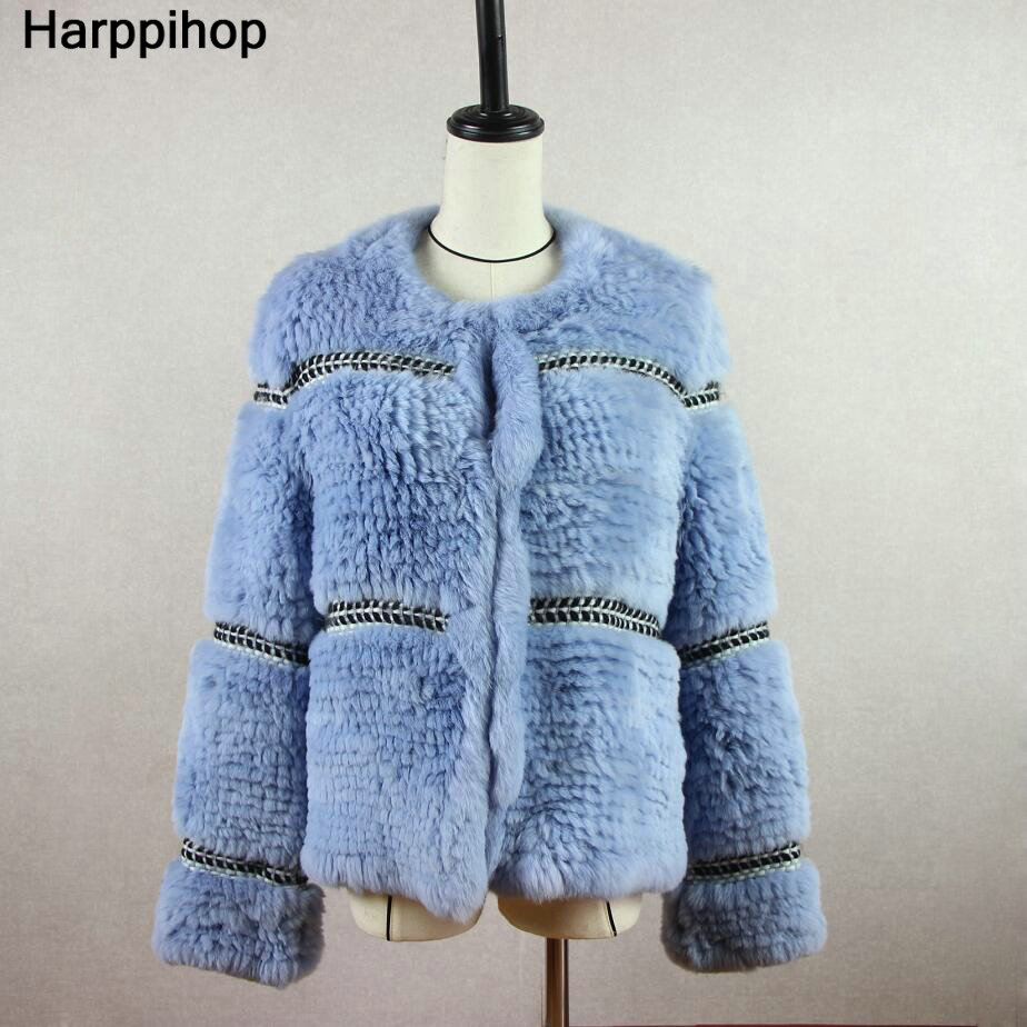Harppihop Rex knitted Genuine Rabbit fur coat women fashion long rabbit fur jacket Outwear winter fur coat Free shipping in Real Fur from Women 39 s Clothing