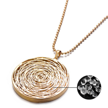 2019 Fashion Hollow Flower Pendant Necklace Women Ladies Geometric Crystal Sweater Chain Trendy Jewelry Gift