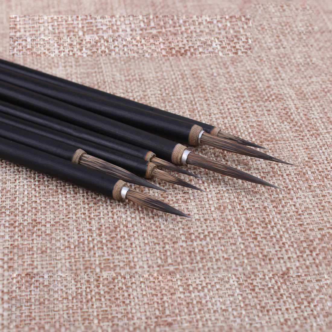 3pcs Wolf Hair Brush Hook Line Pen Calligraphy Pens Black Bamboo Penholder Artist Drawing Painting Watercolor Painting Supplies